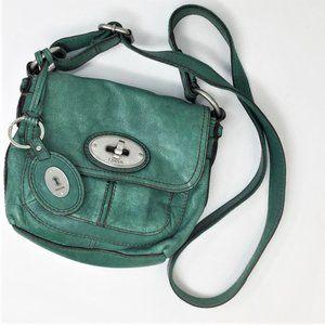 Fossil Green Leather Maddox Crossbody Bag